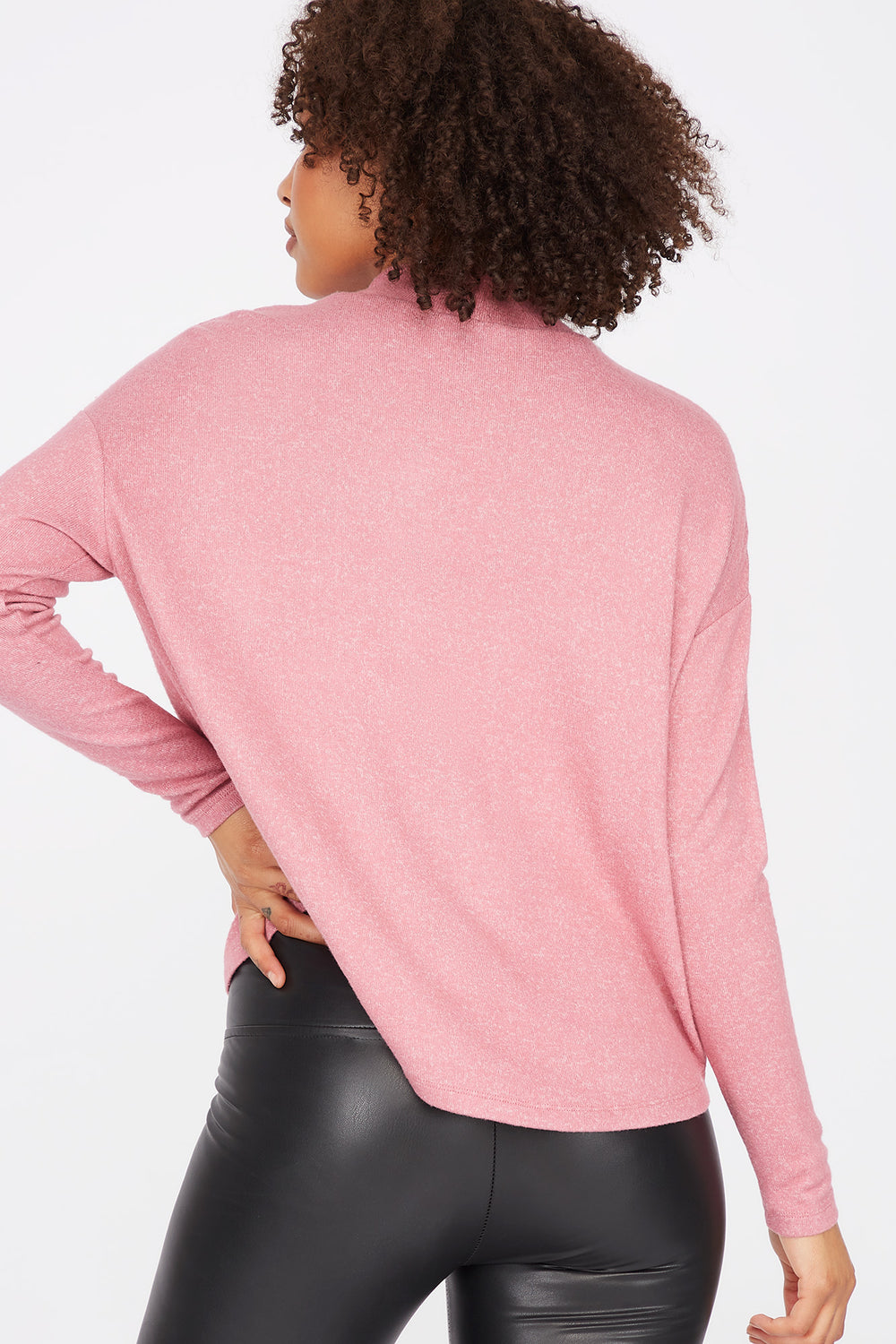 Relaxed Mock Neck Long Dolman Sleeve Top Rose