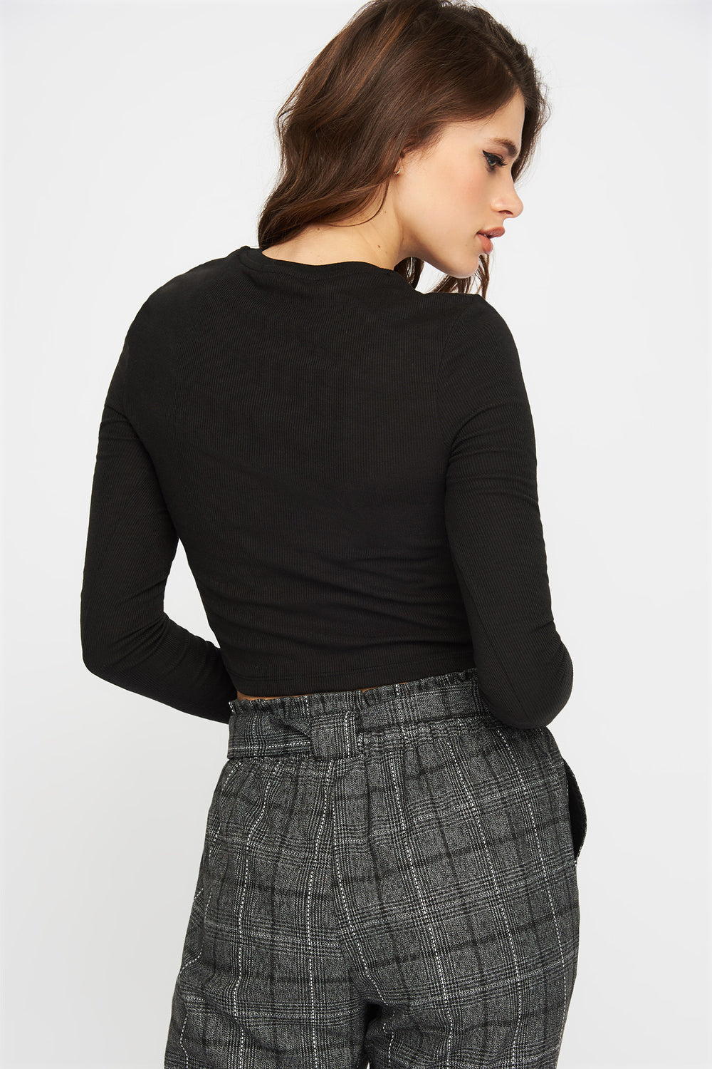 Ribbed Cropped Long Sleeve Black