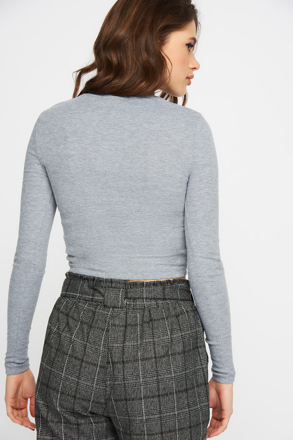 Ribbed Cropped Long Sleeve Heather Grey