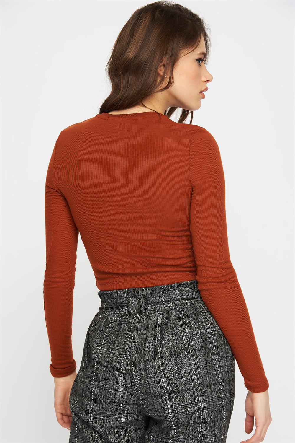 Ribbed Cropped Long Sleeve Medium Brown