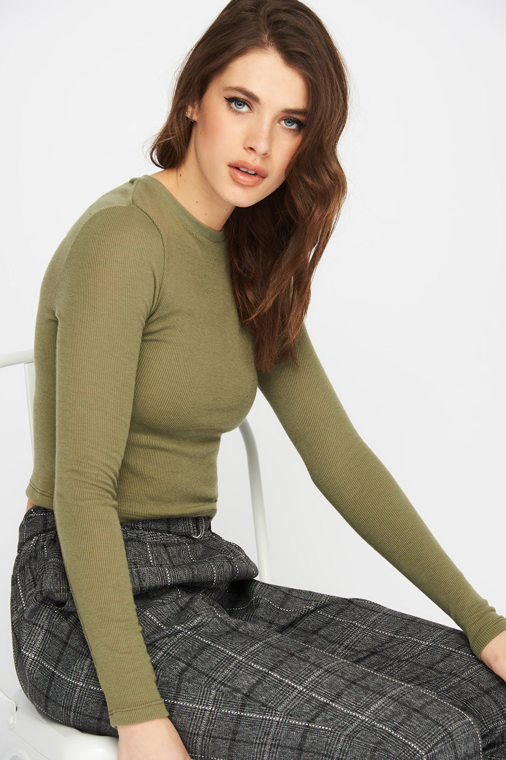 Ribbed Cropped Long Sleeve Dark Green