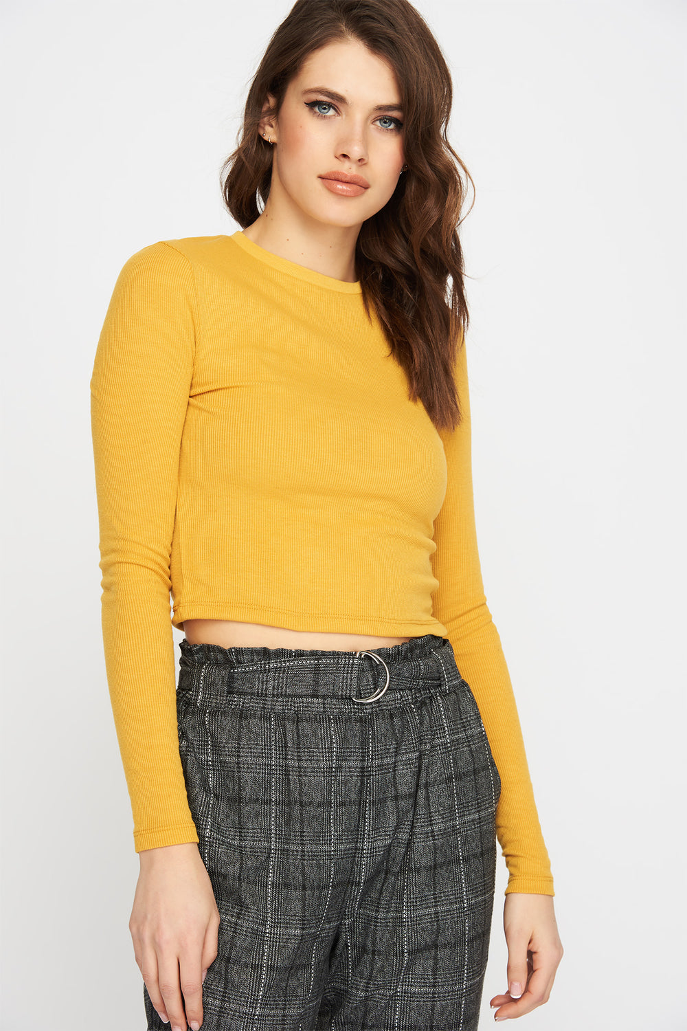 Ribbed Cropped Long Sleeve Gold