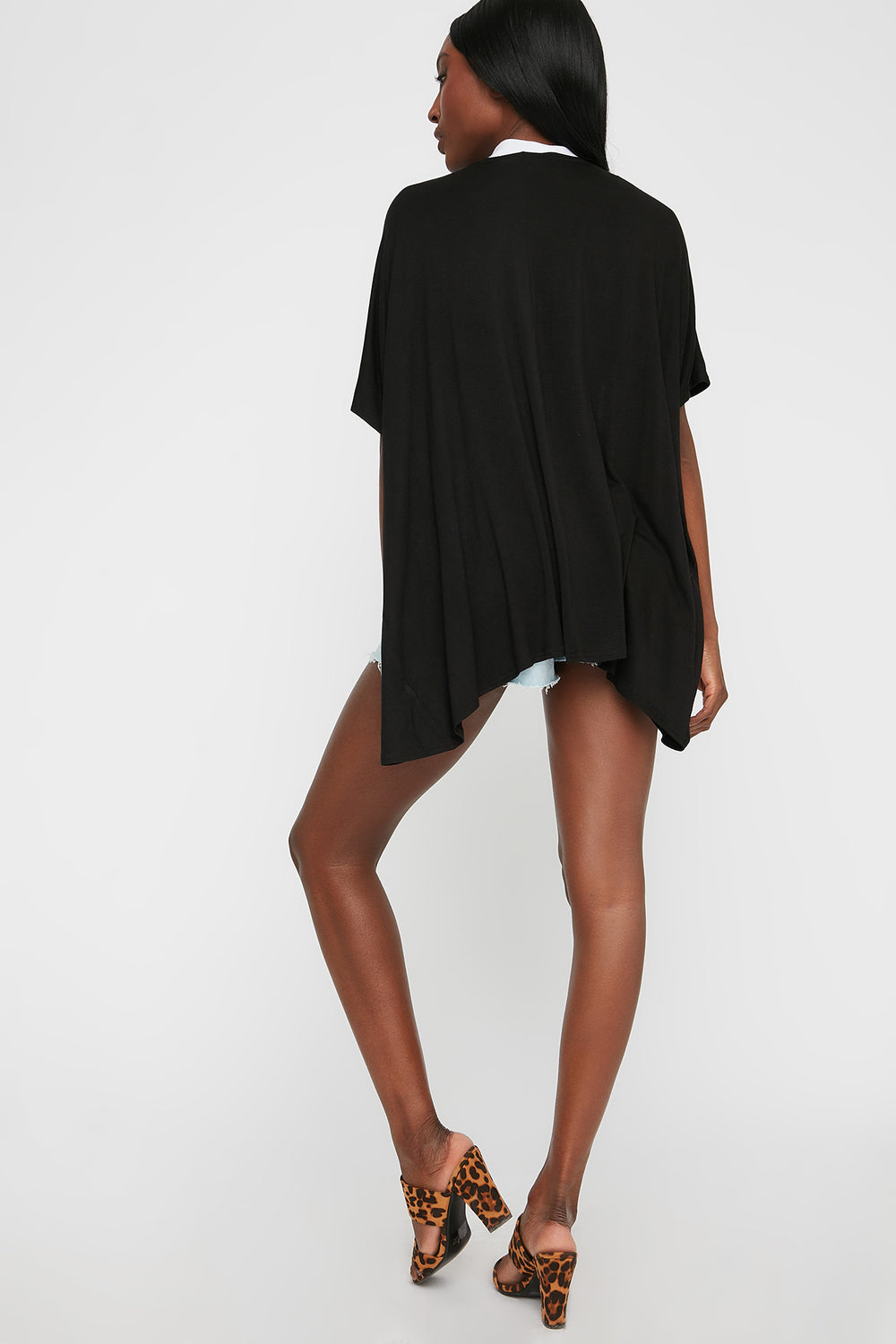 Oversized Short Sleeve Cardigan Black