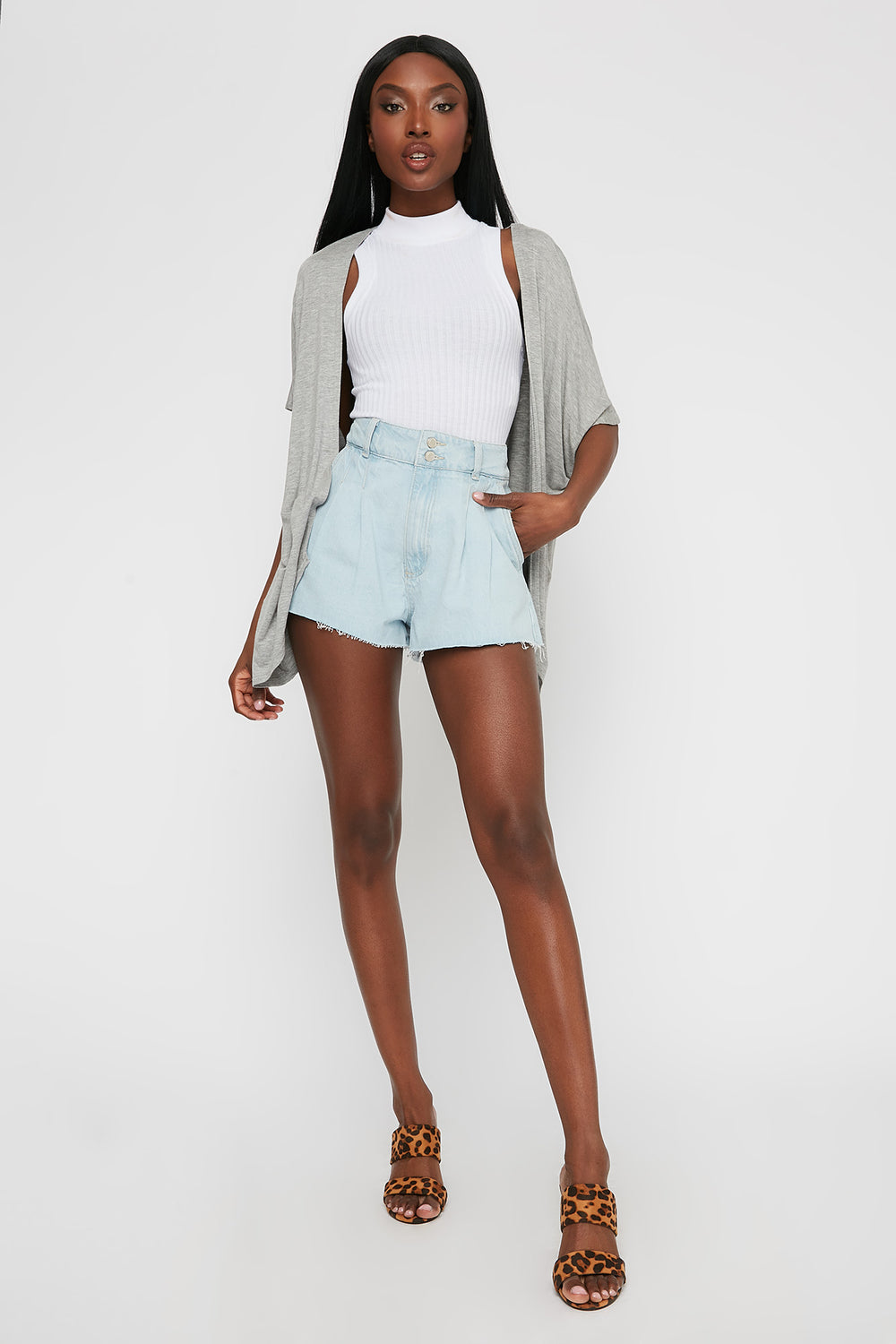 Oversized Short Sleeve Cardigan Heather Grey