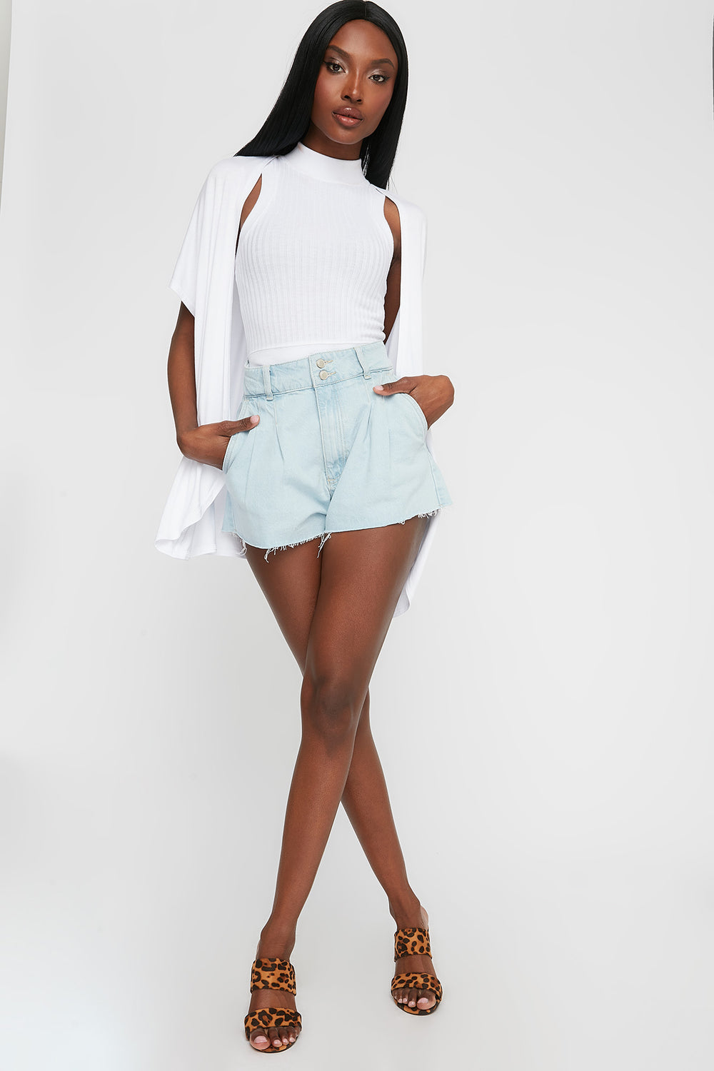 Oversized Short Sleeve Cardigan White
