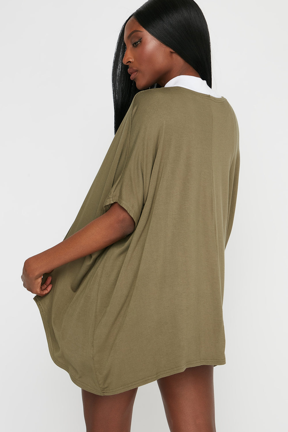 Oversized Short Sleeve Cardigan Dark Green