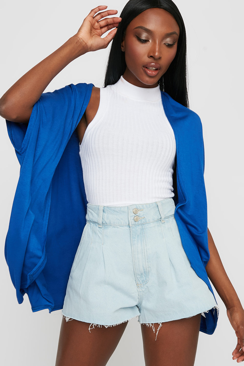 Oversized Short Sleeve Cardigan Dark Blue