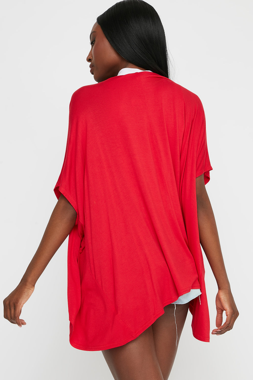 Oversized Short Sleeve Cardigan Bright Red