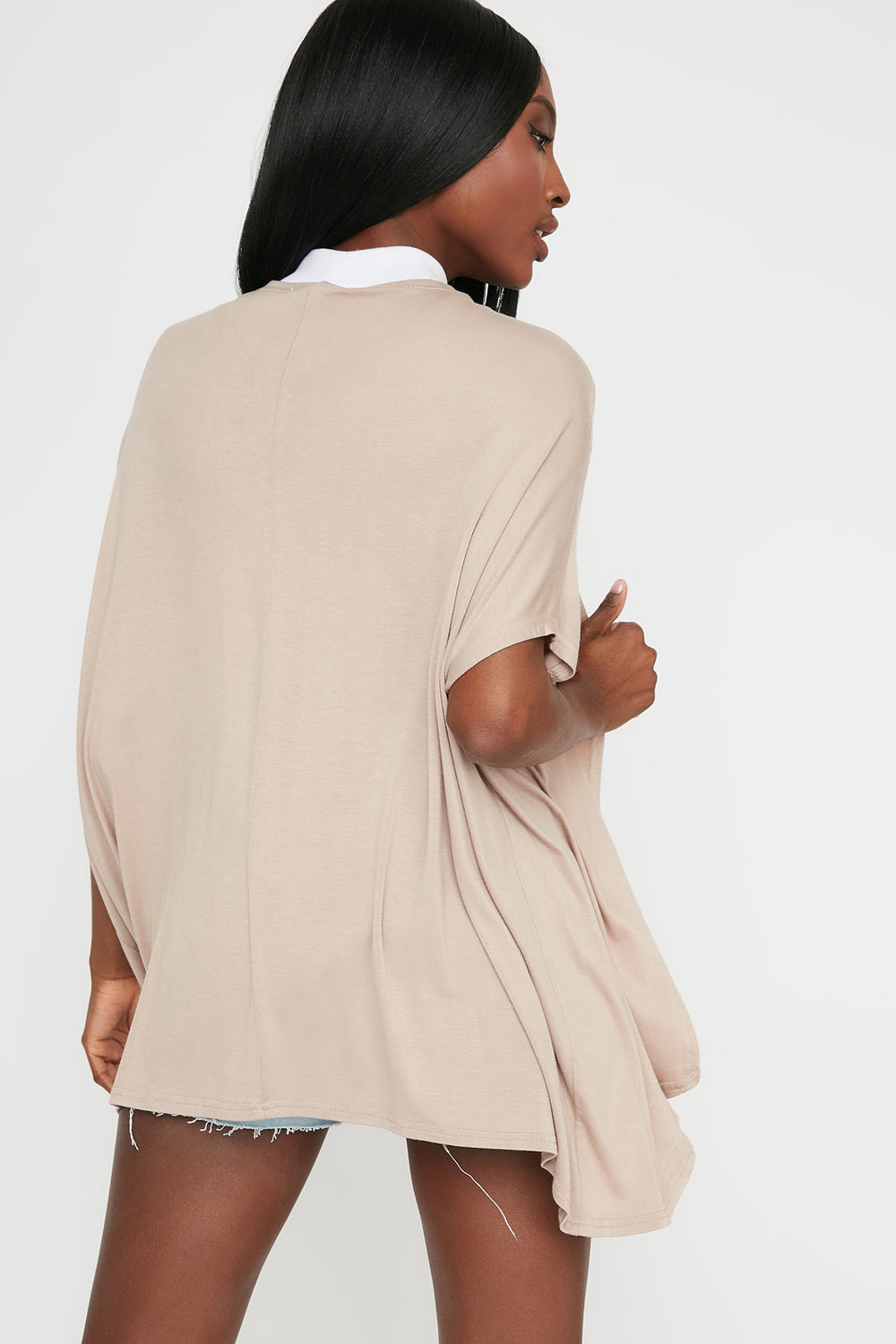 Oversized Short Sleeve Cardigan Taupe