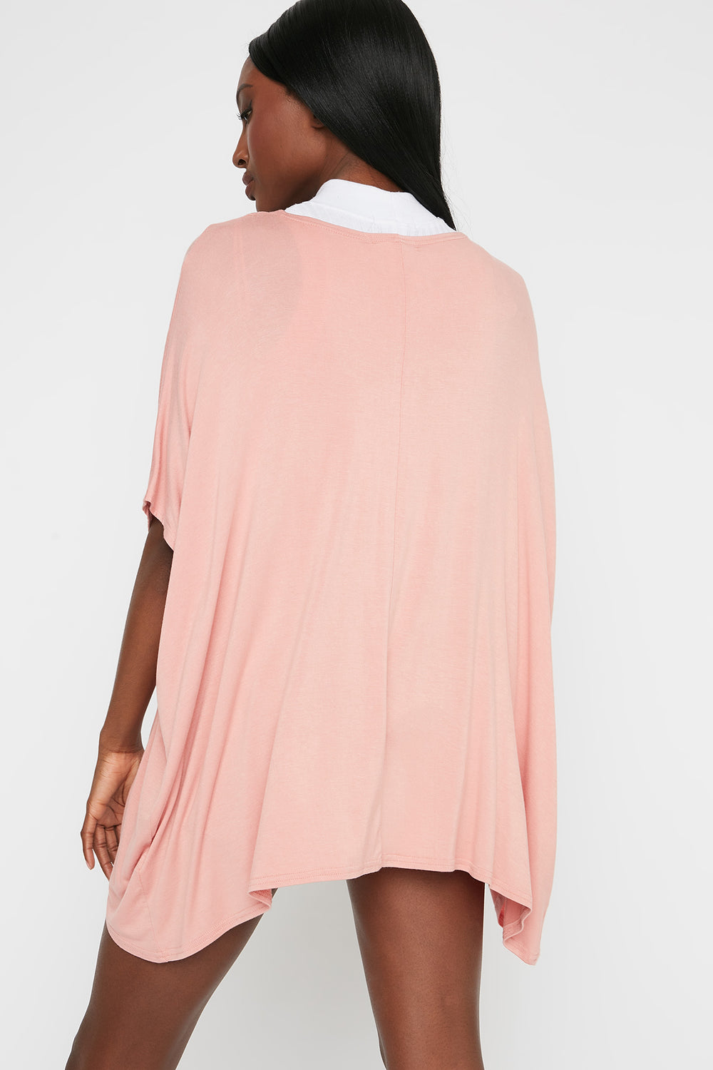 Oversized Short Sleeve Cardigan Light Pink
