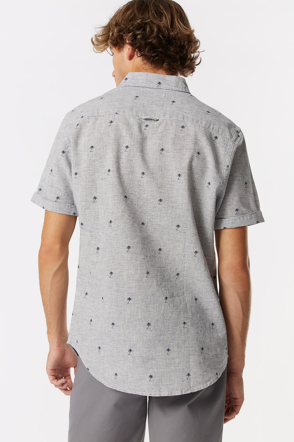 Linen Palm Tree Printed Button-Up Short Sleeve Top Light Blue