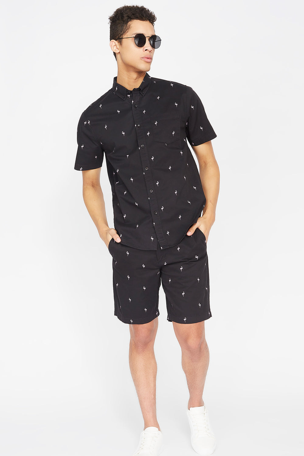 Printed Button-Up Short Sleeve Top Black