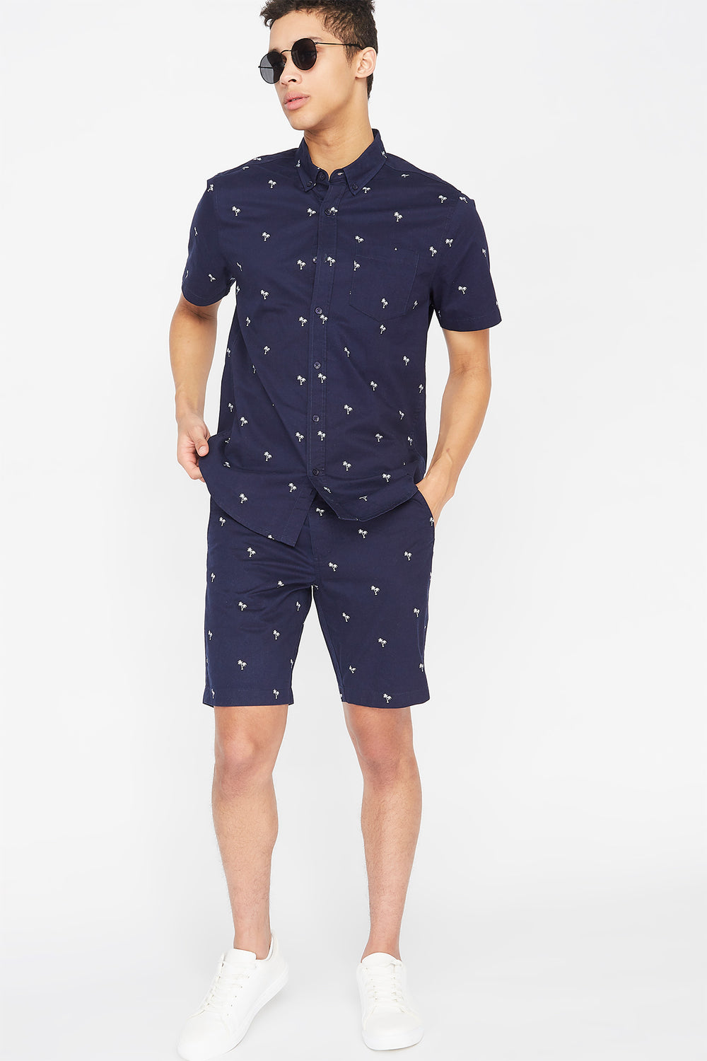Printed Button-Up Short Sleeve Top Navy