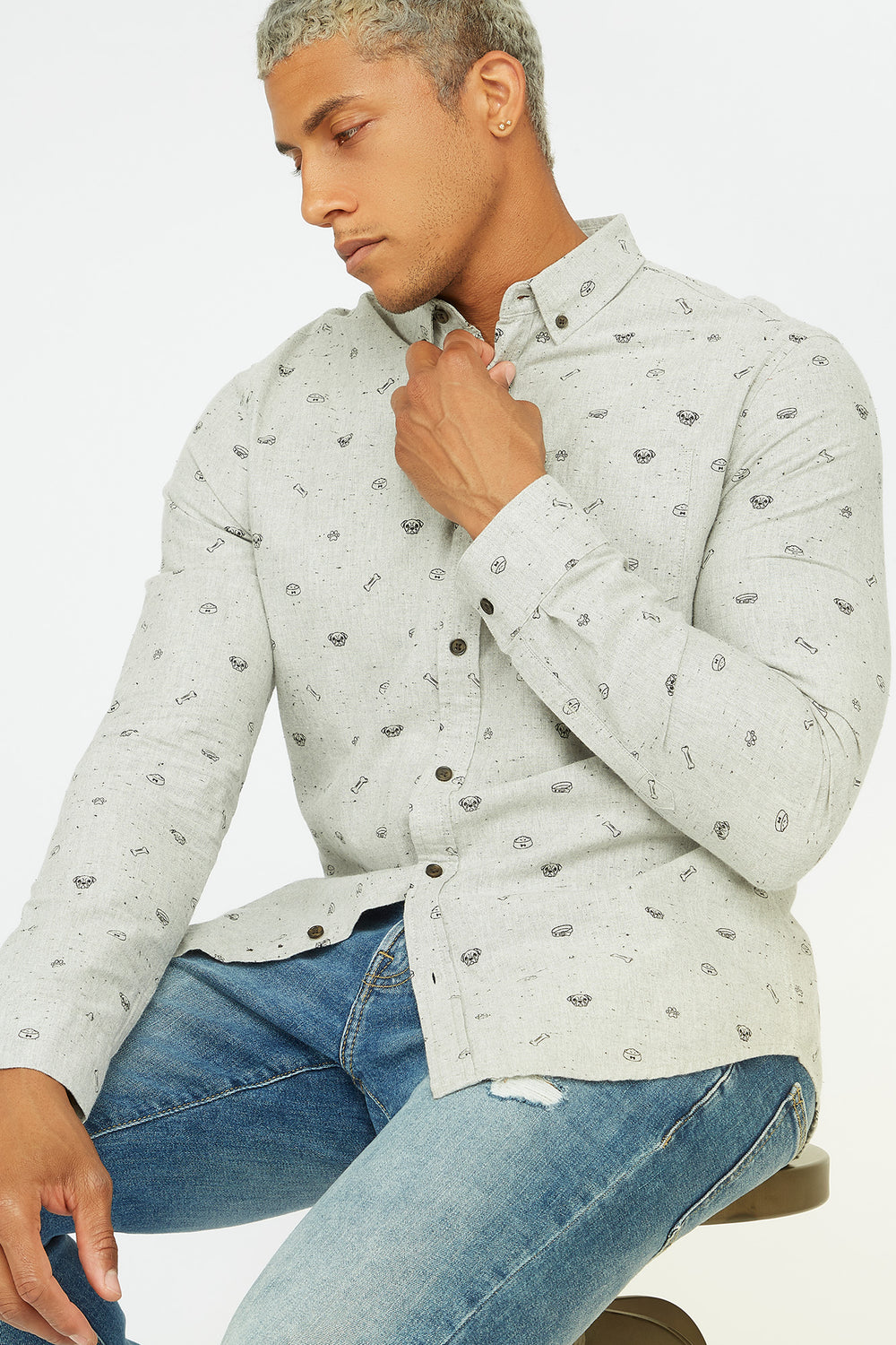 Printed Button-Up Front Pocket Long Sleeve Shirt Heather Grey