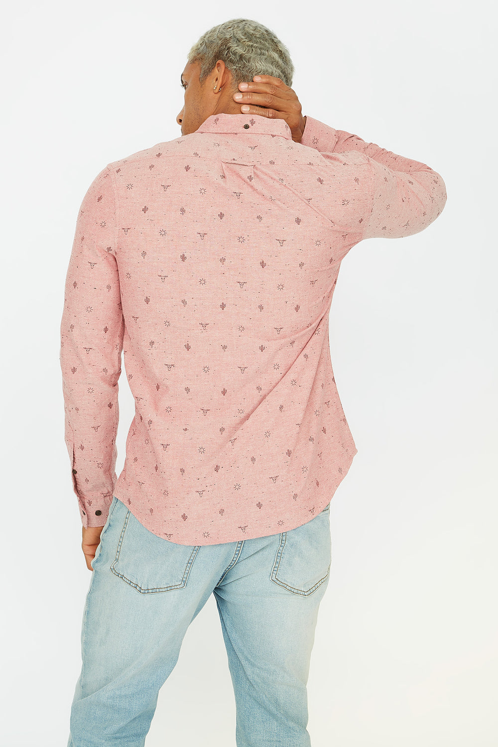 Printed Button-Up Front Pocket Long Sleeve Shirt Red