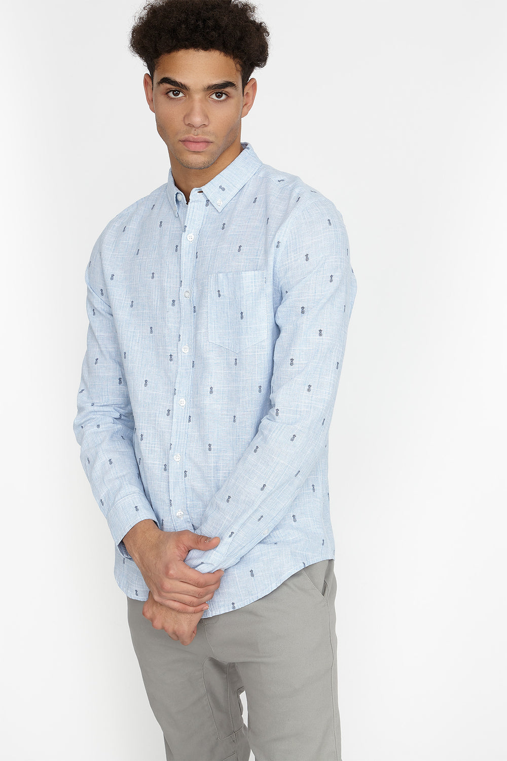 Linen Ditsy Printed Button-Up Top Light Blue