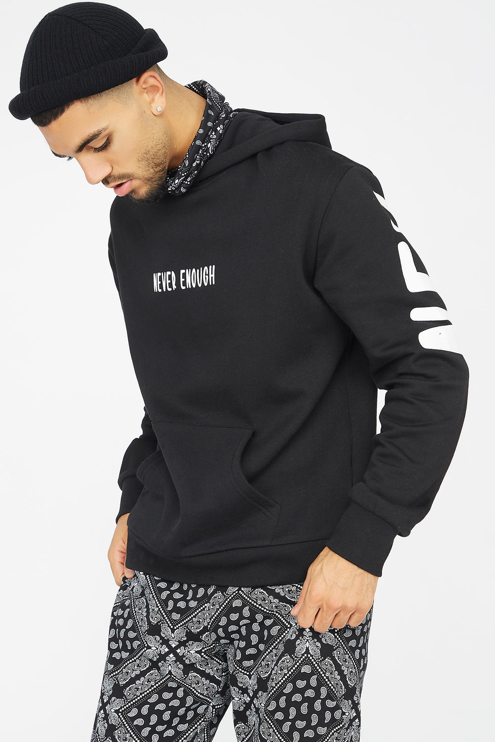 Never Enough Graphic Snood Hoodie Black