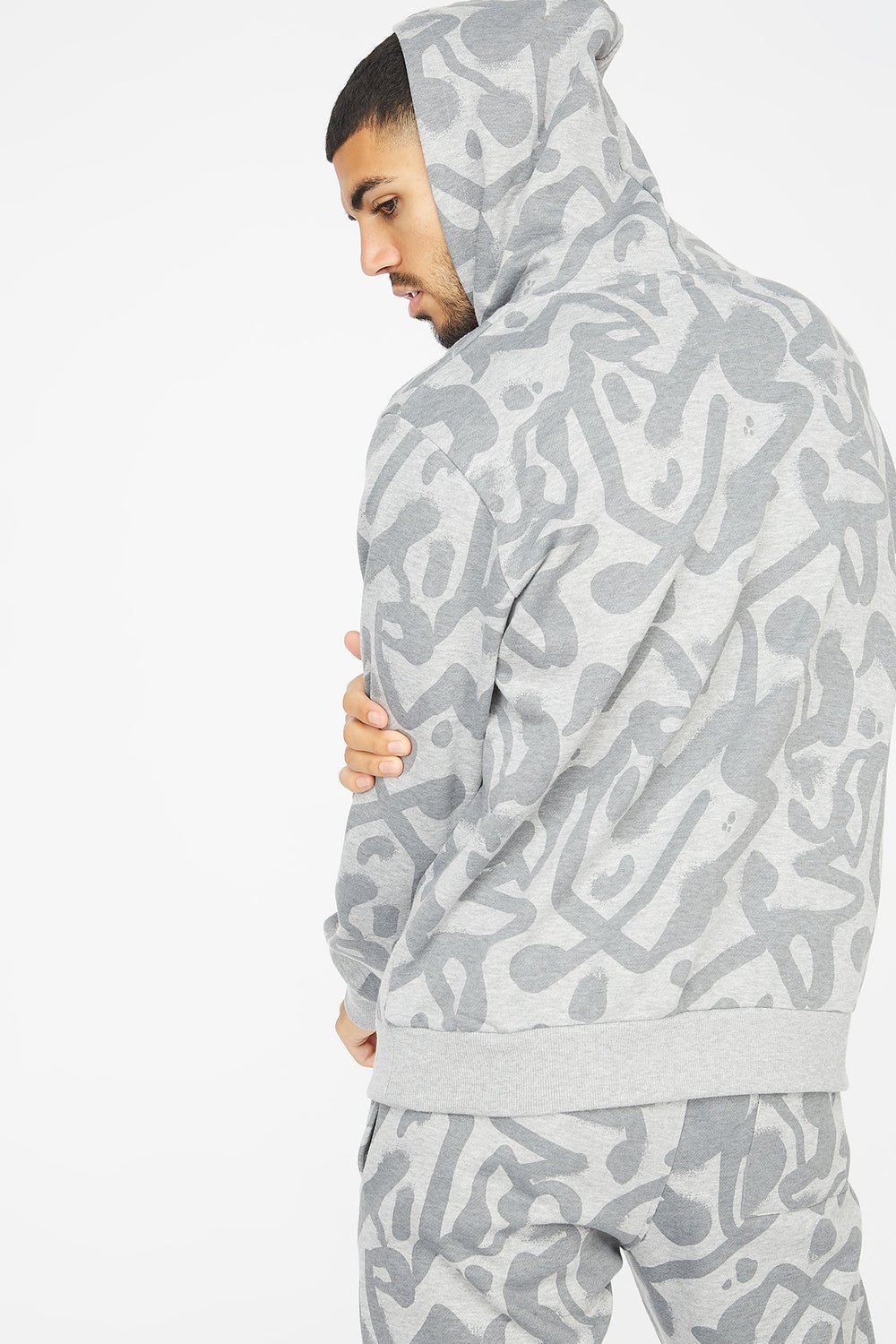 Graffiti Printed Together Graphic Snood Hoodie Heather Grey