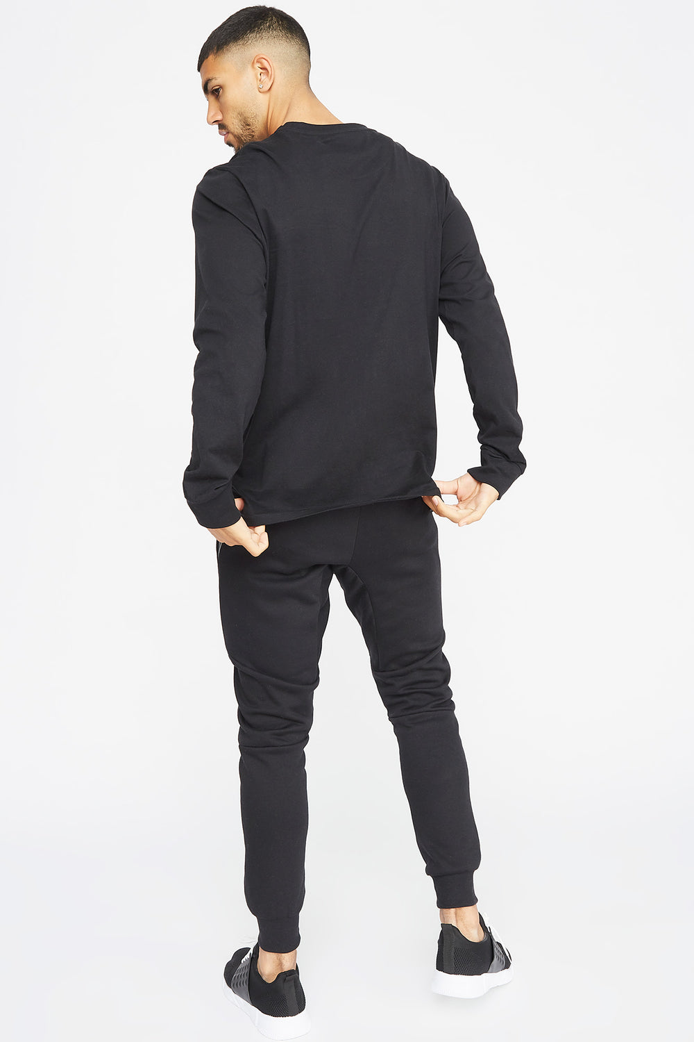 Textured Panel Jogger Black