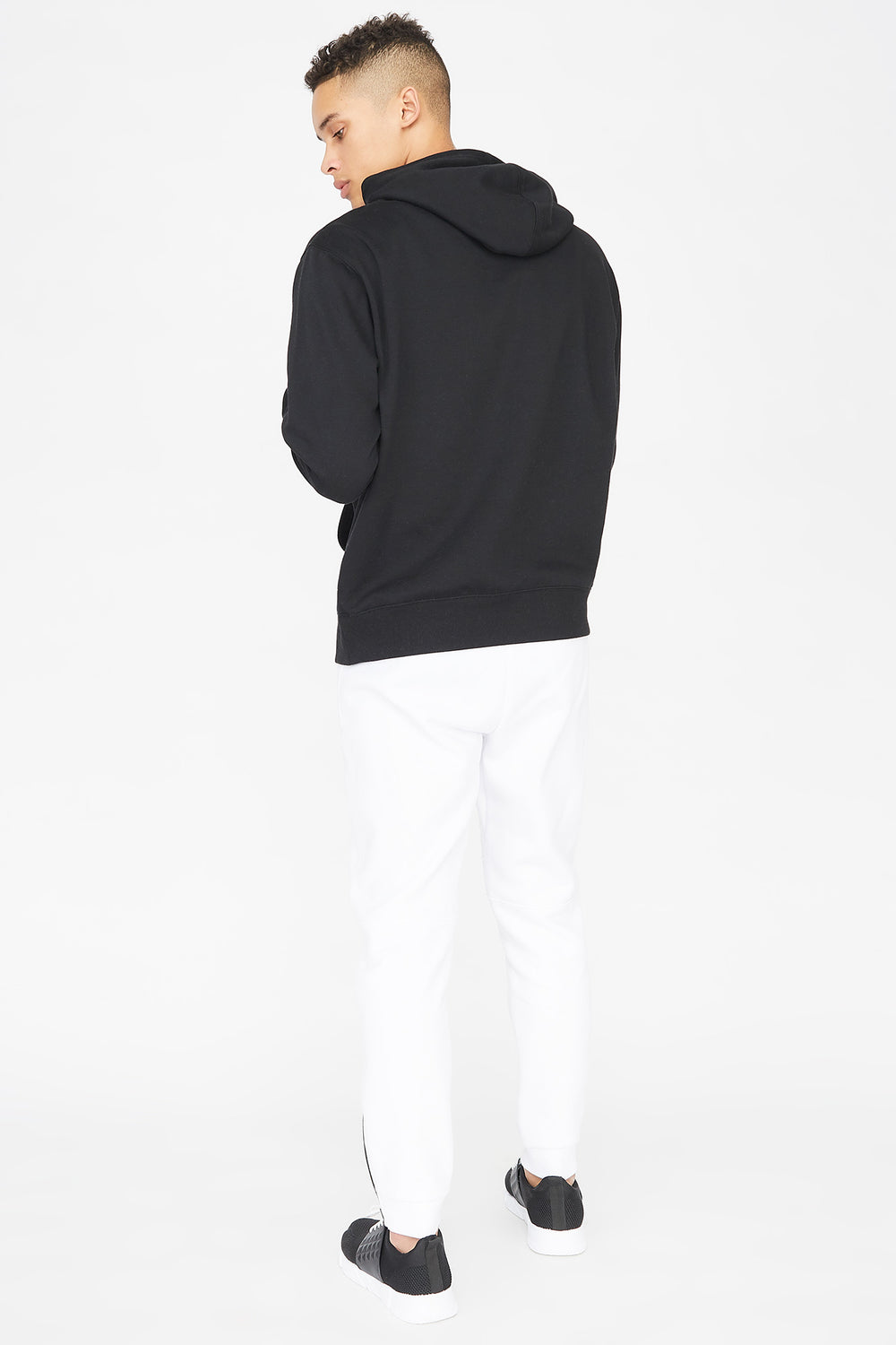 Fleece Zipper Panel Jogger White