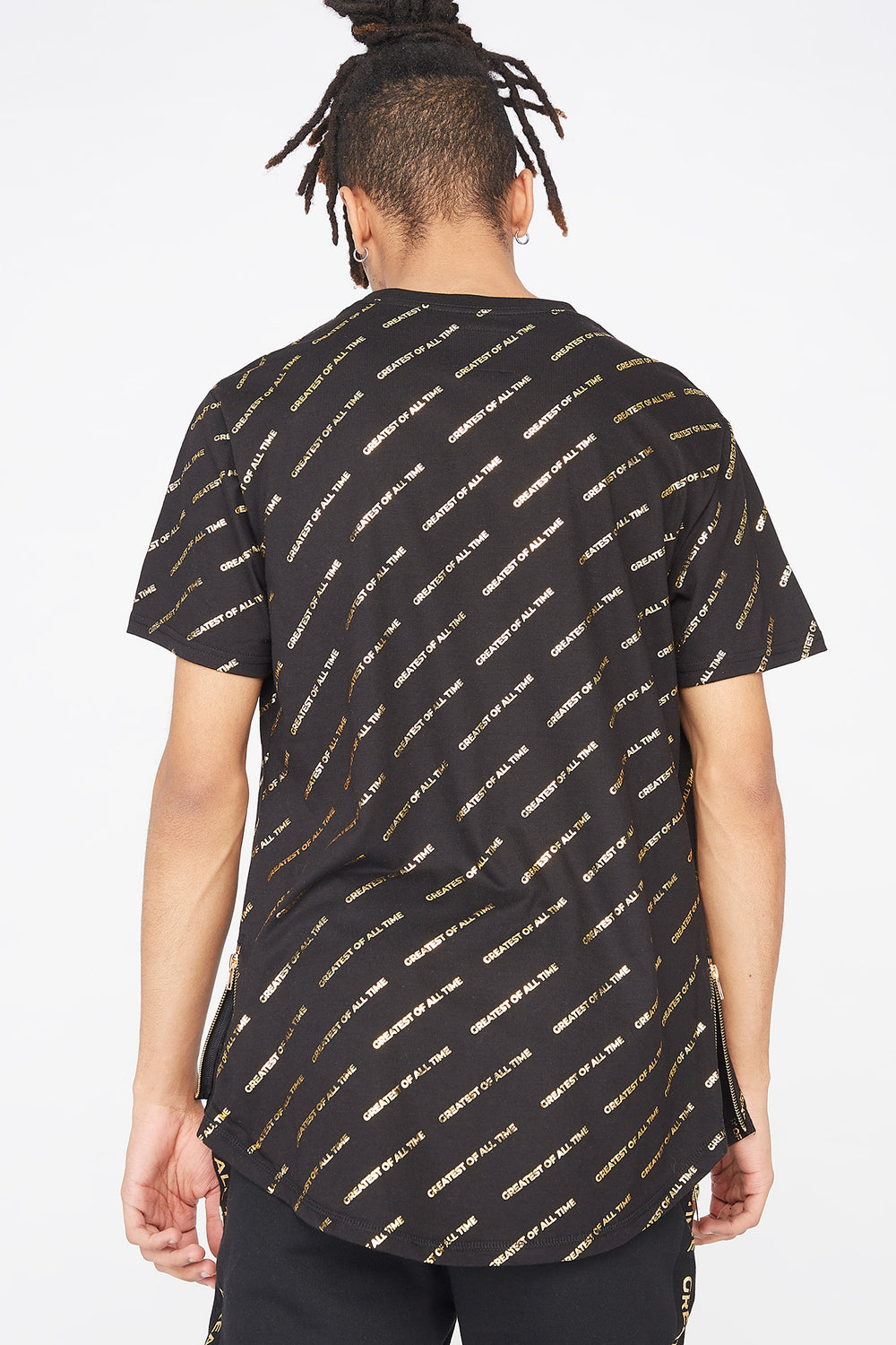 Greatest Of All Time Graphic Longline T-Shirt Black
