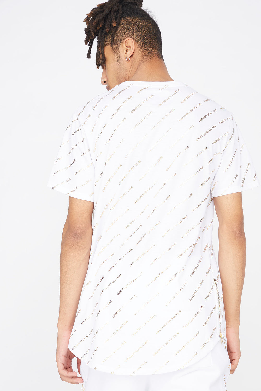 Greatest Of All Time Graphic Longline T-Shirt White