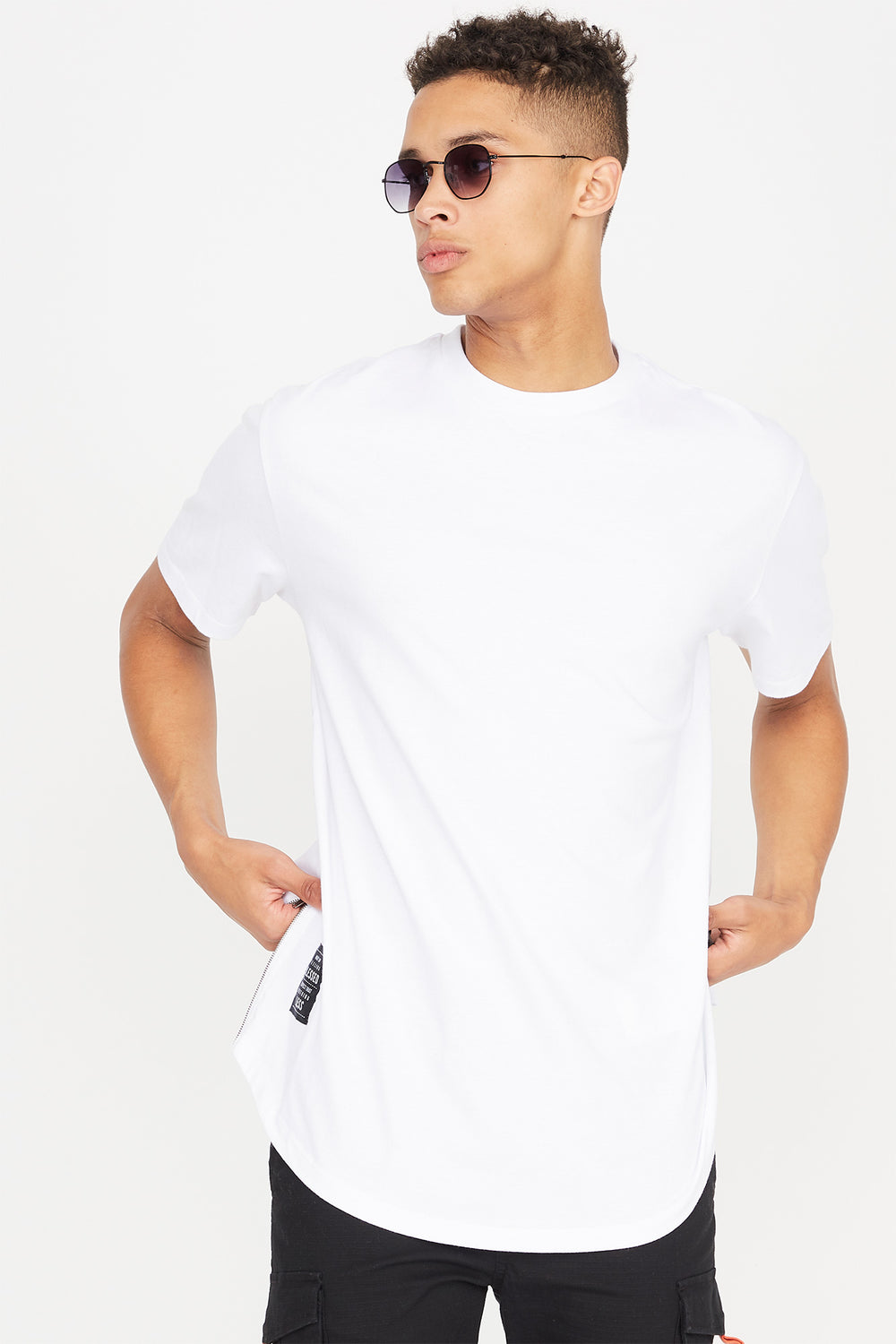 Camiseta Gráfica Enorme con Bolsillo Lateral Blessed Blanco