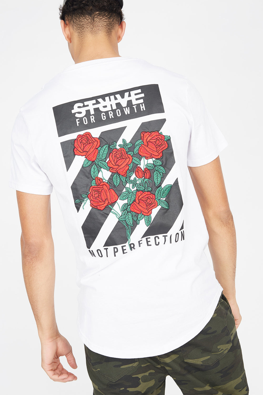 Strive Embroidered Graphic Longline T-Shirt White