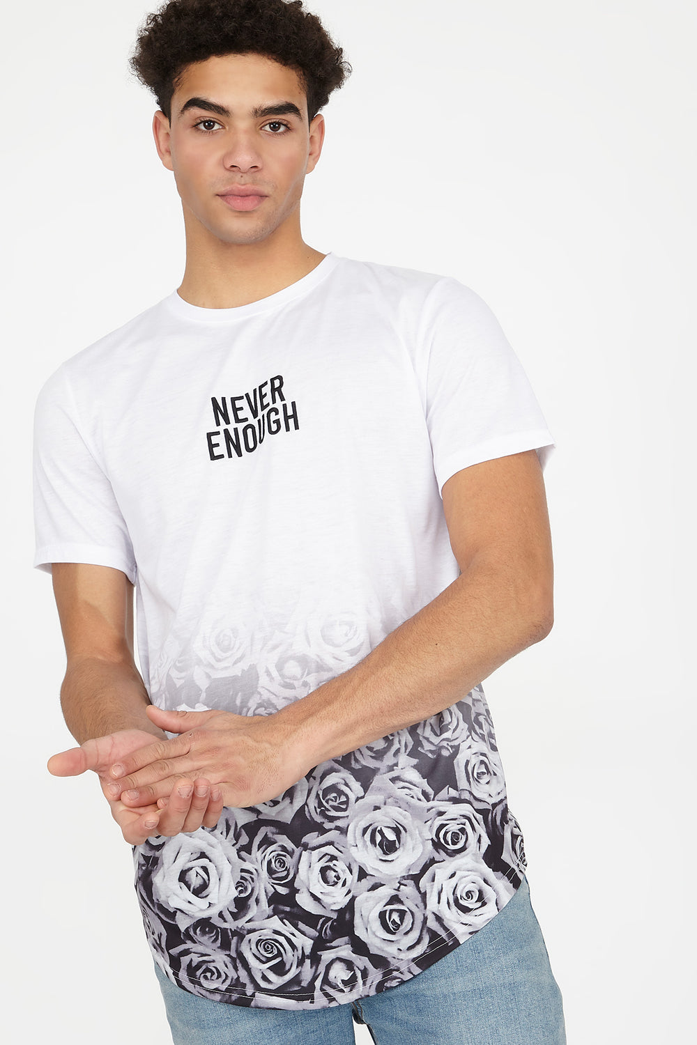 Floral Never Enough Embroidered Longline Graphic T-Shirt White
