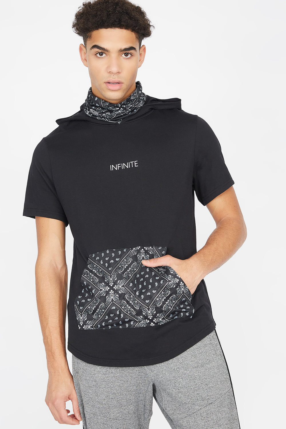 Bandana Printed Graphic Short Sleeve Snood Hoodie Black