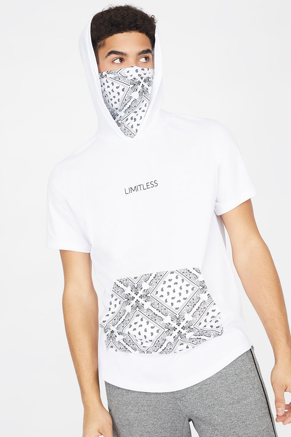 Bandana Printed Graphic Short Sleeve Snood Hoodie White