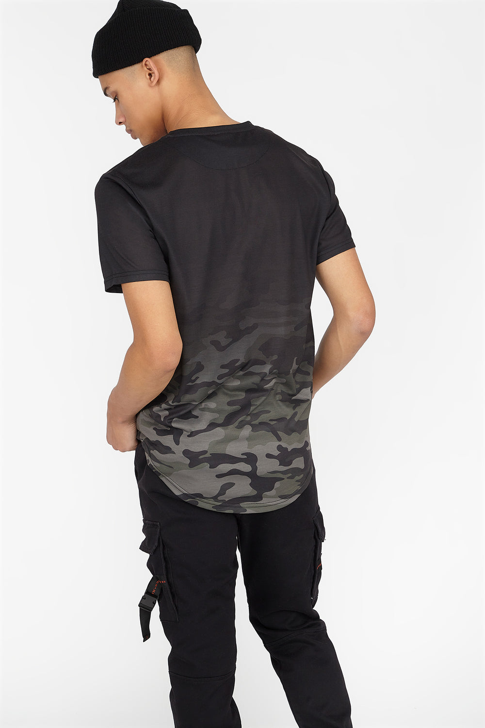 Ombre Camo Printed Graphic Longline T-Shirt Black