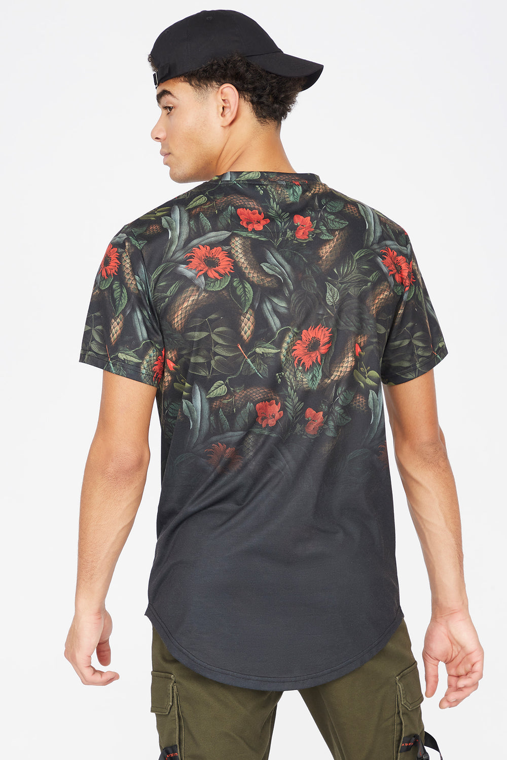 Floral Brooklyn Graphic T-Shirt Black