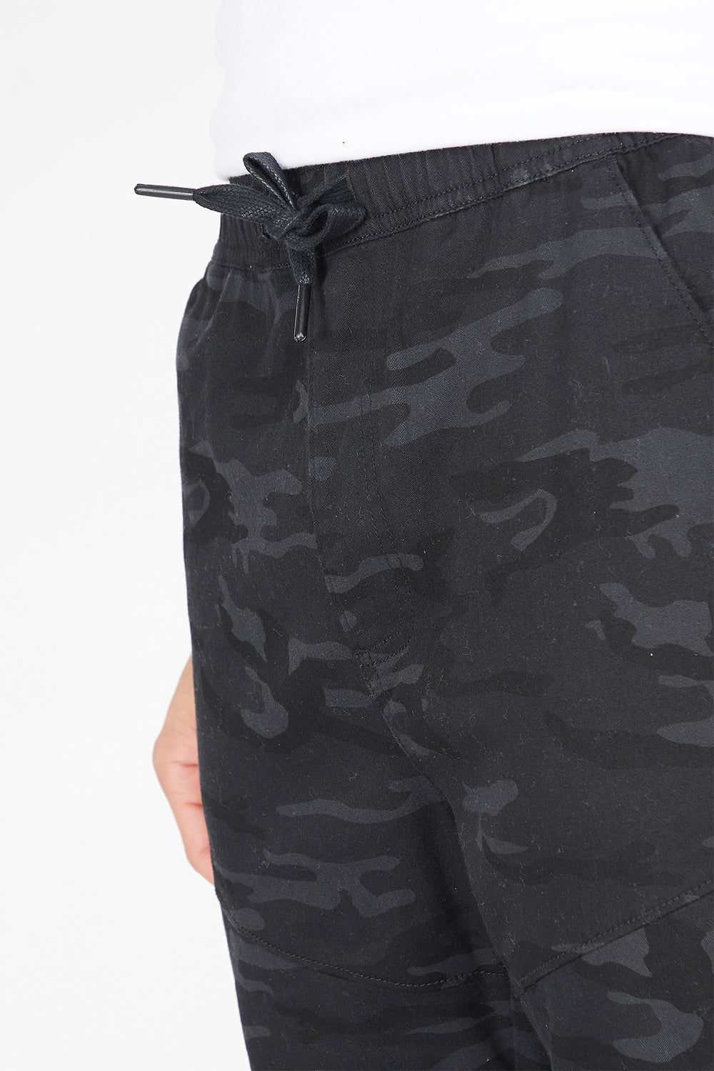 Printed Moto Ruched Zip Jogger Black with White