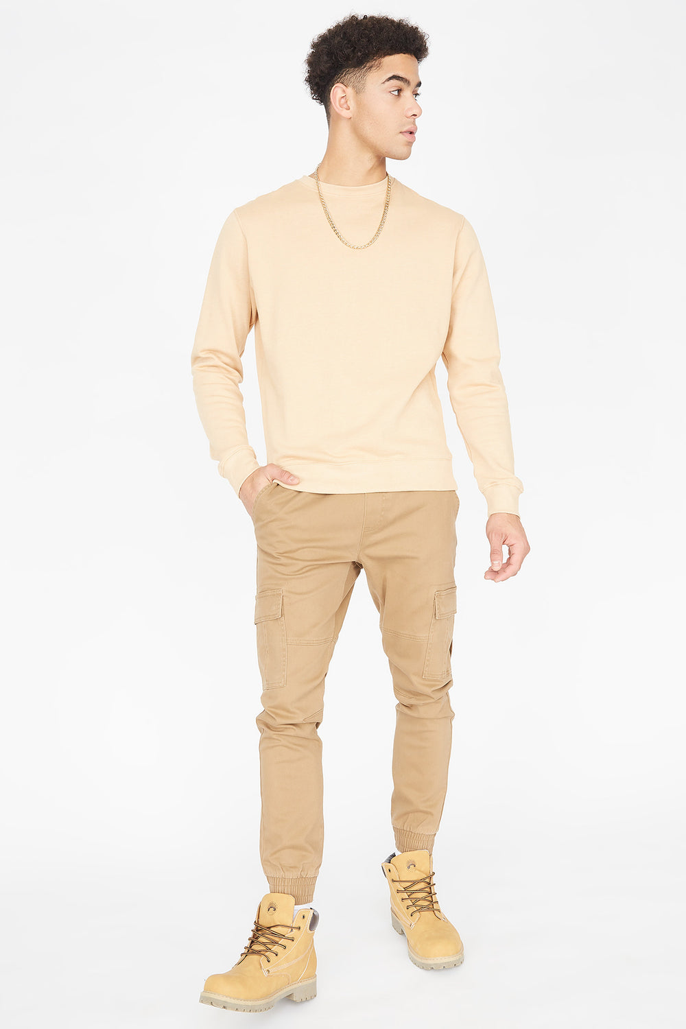 Solid Cargo Jogger Camel