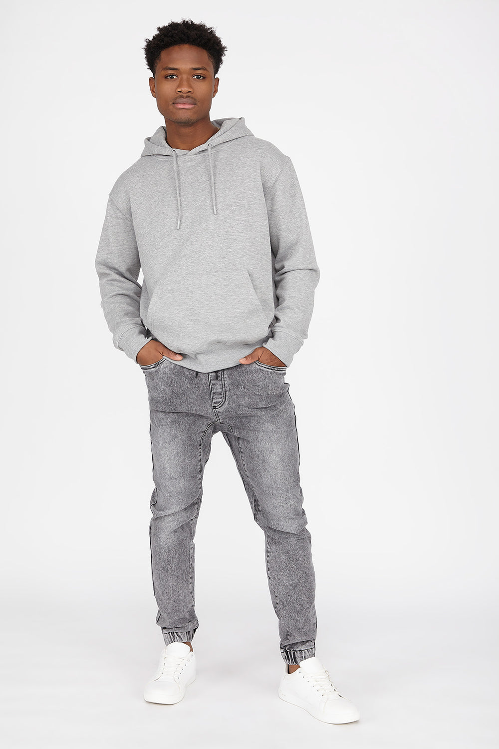 Drawstring Knit Denim Jogger Heather Grey