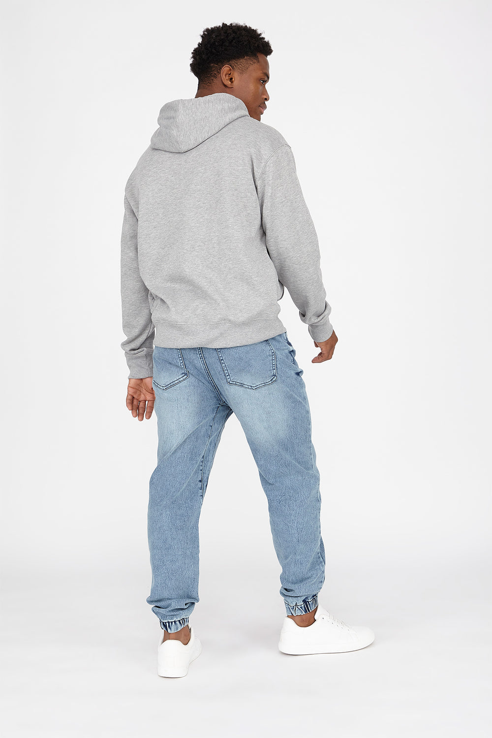 Drawstring Knit Denim Jogger Light Denim Blue
