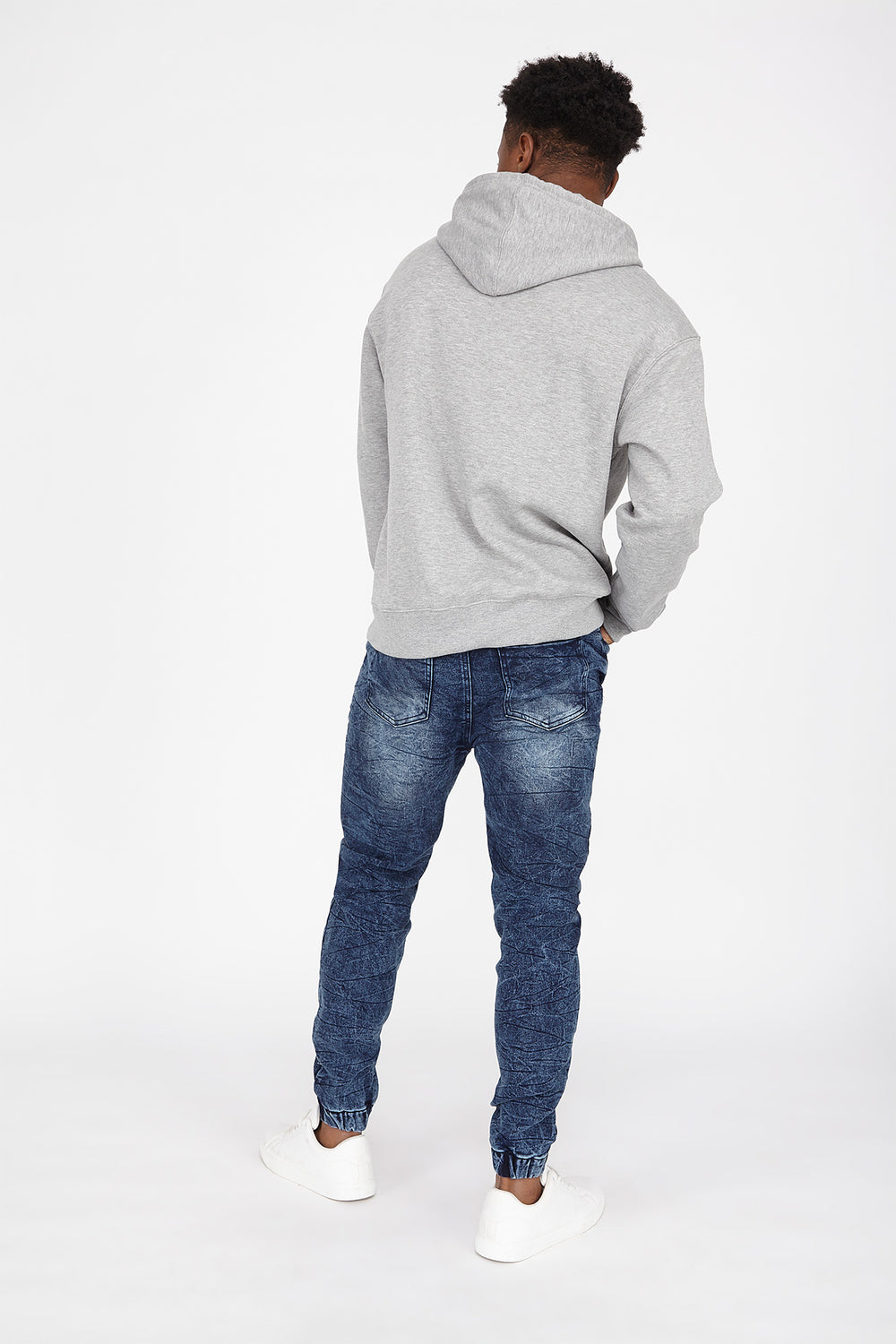 Drawstring Knit Denim Jogger Pacific Blue