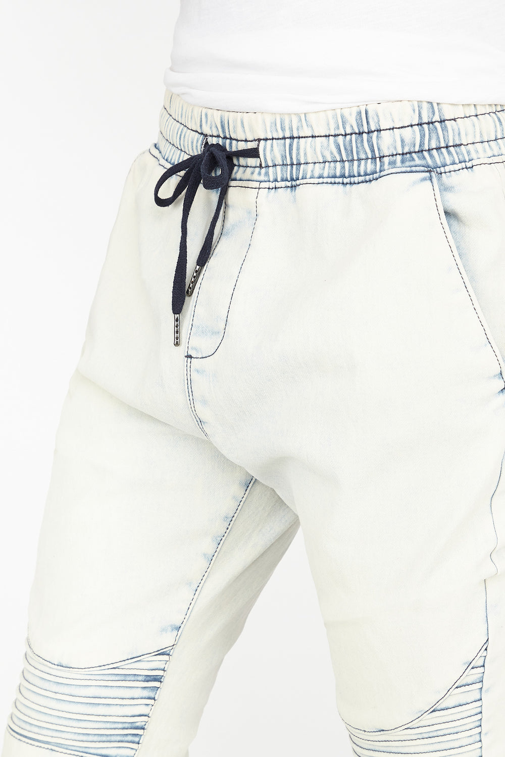 Knit Denim Moto Jogger Light Denim Blue