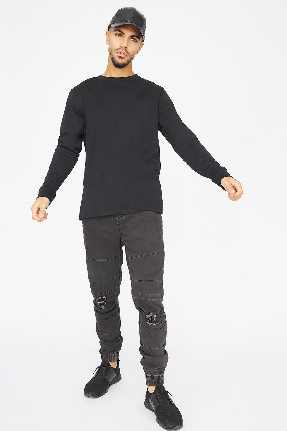 Distressed Moto Jogger Black