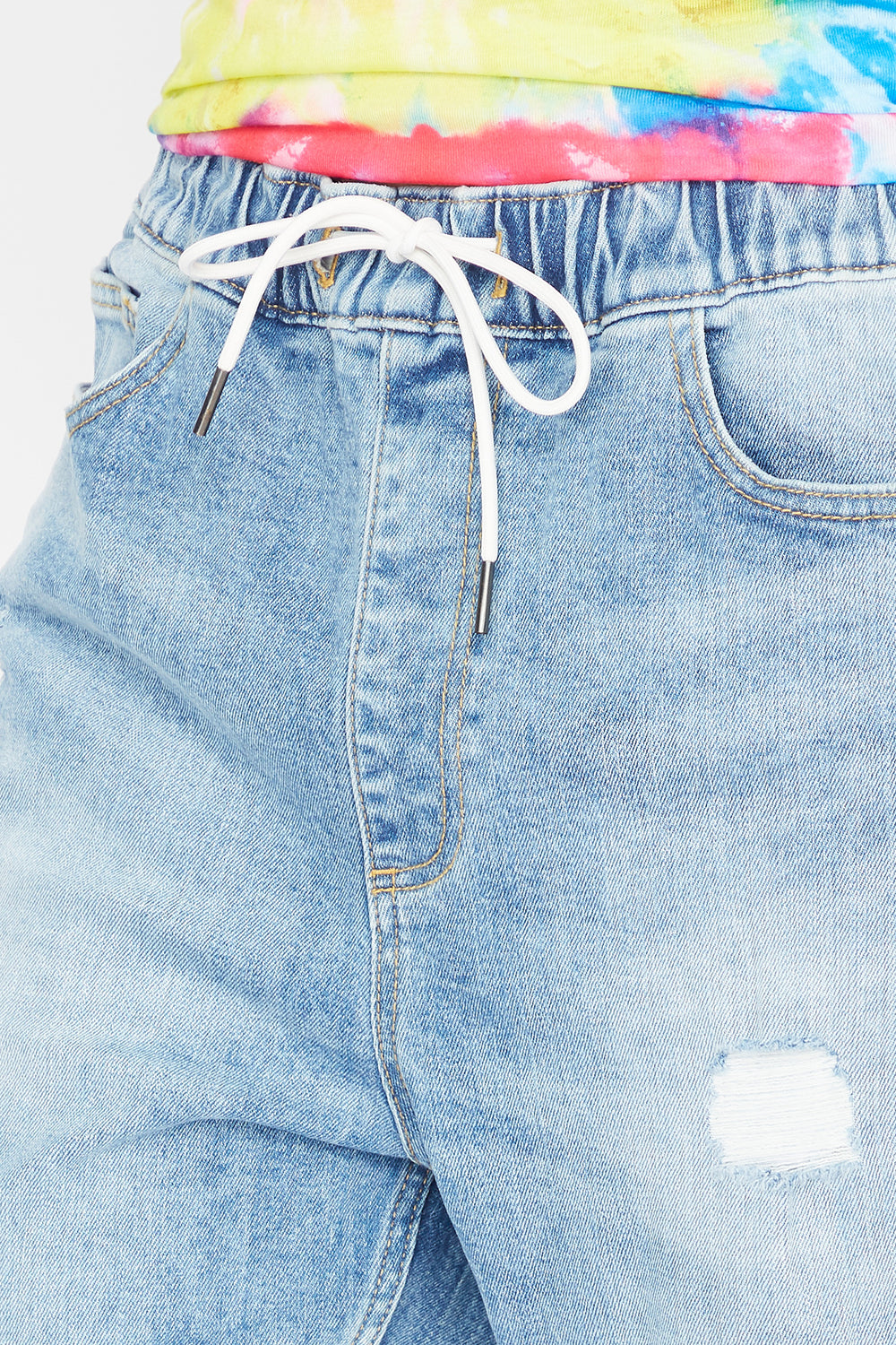 Eco-Friendly Drawstring Distressed Denim Jogger Medium Blue