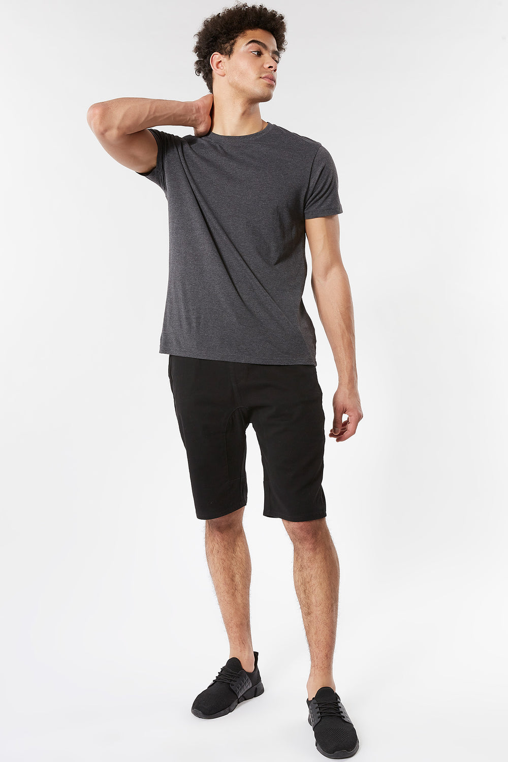Eco-Friendly Solid Twill Jogger Short Black