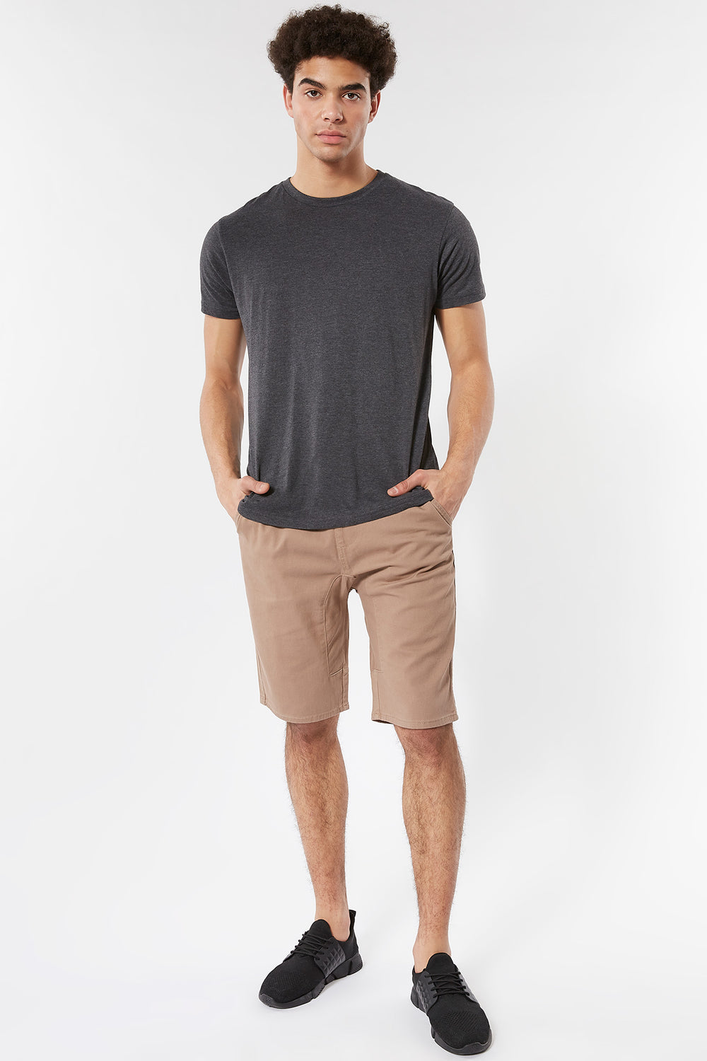 Eco-Friendly Solid Twill Jogger Short Sand