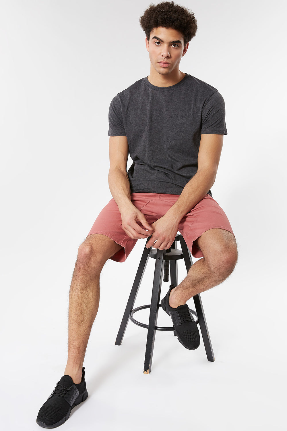Eco-Friendly Solid Twill Jogger Short Rose