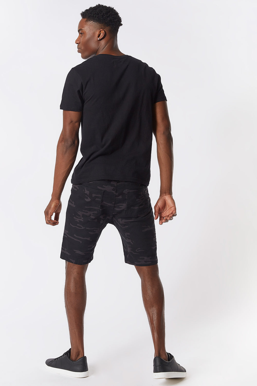 Camo Twill Drawstring Short Black with White