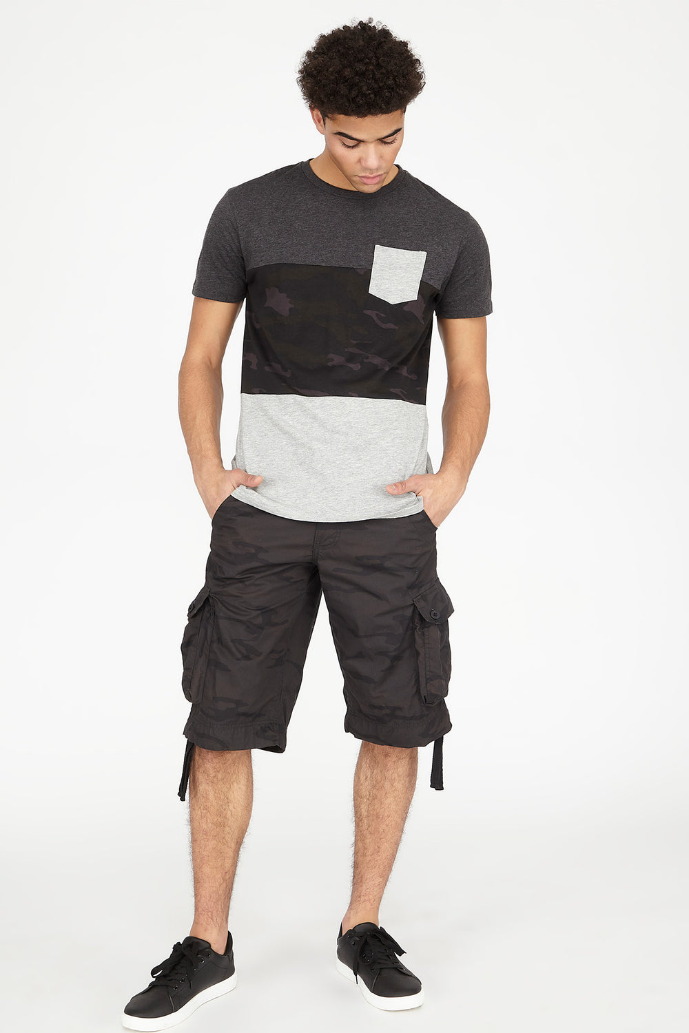 Camo Cargo Short Black with White