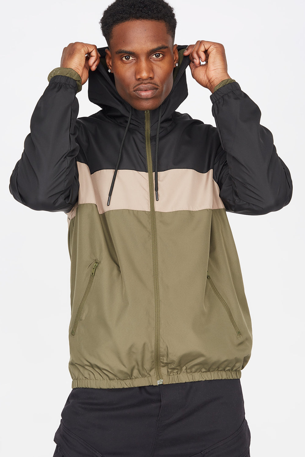 Colour Block Zip-Up Windbreaker Black