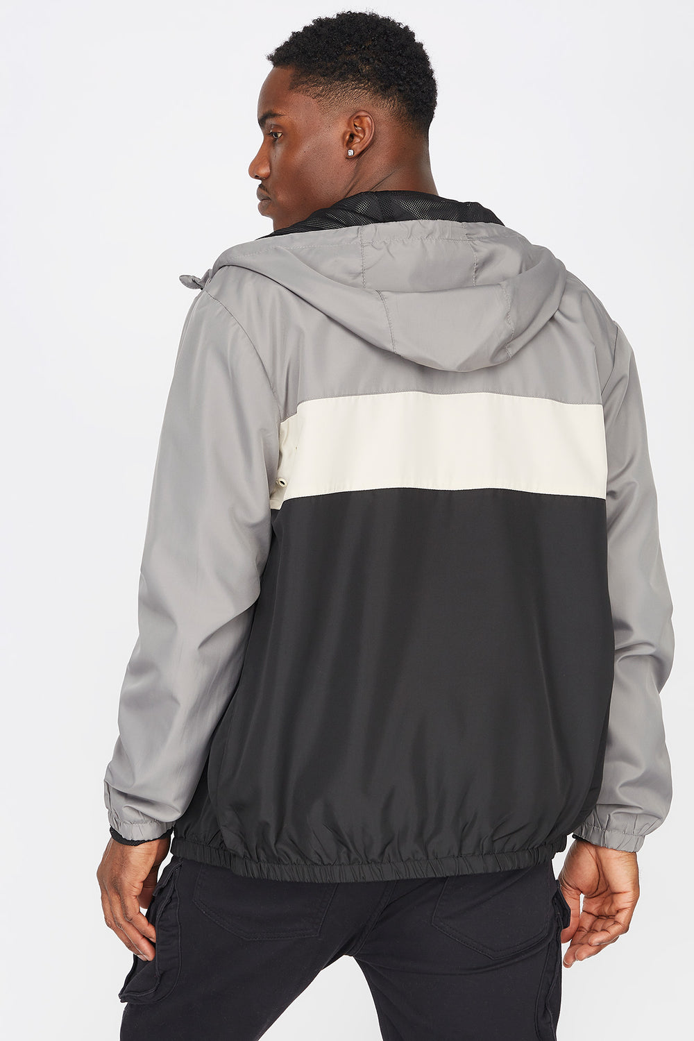 Colour Block Zip-Up Windbreaker Light Grey
