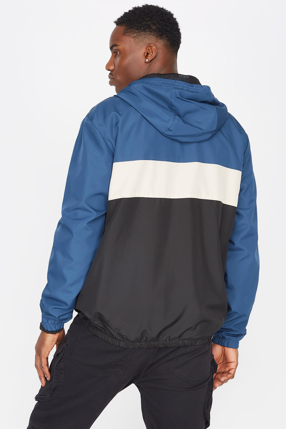 Colour Block Zip-Up Windbreaker Blue