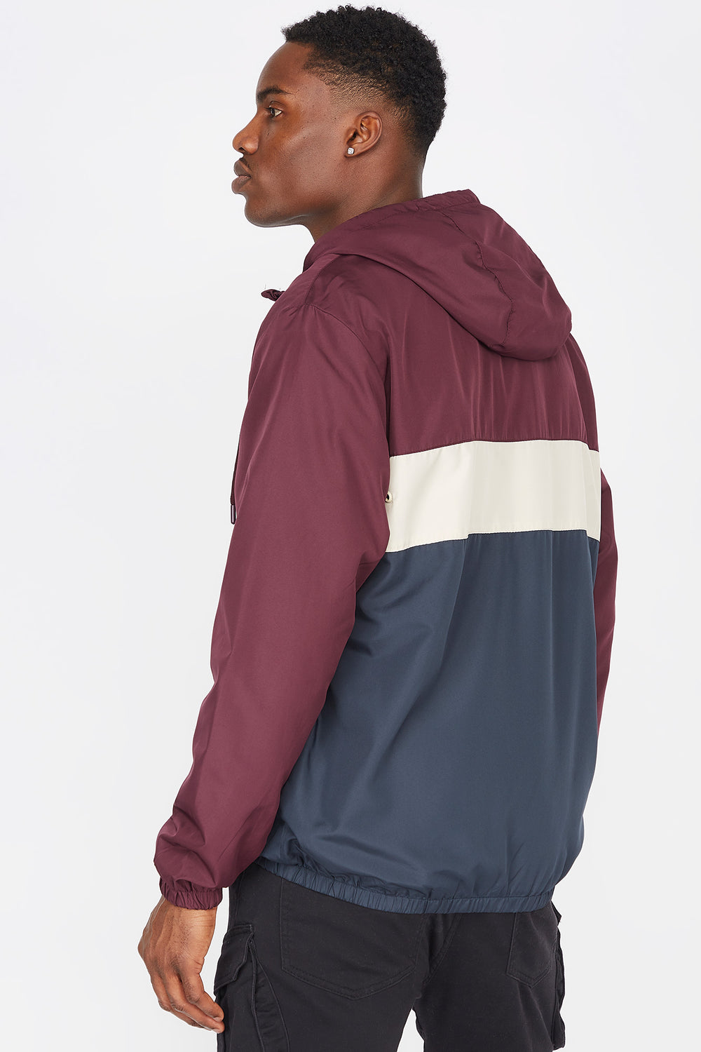 Colour Block Zip-Up Windbreaker Wine